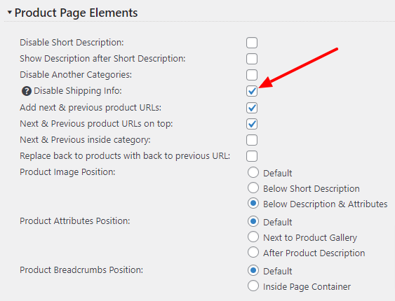 Disable shipping info on the product page settings checkbox