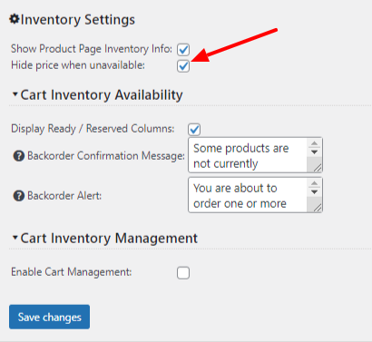 Hide product price when product is unavailable