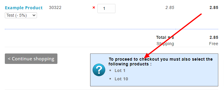 Dependent products box in checkout