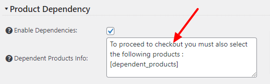 Dependent products info customization option
