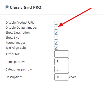 Disable classic grid default image