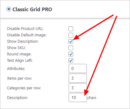 Display description in classic grid
