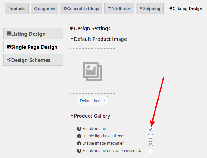 Disable image on the product page checkbox