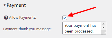 Enable Quote Cart Payments checkbox