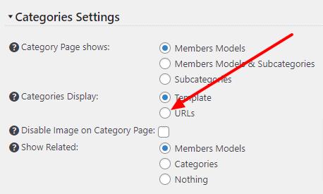 Categories Display setting
